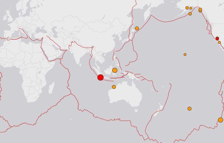 印尼蘇門答臘發生規模6.9地震 當局發海嘯警報 翻攝自earthquake