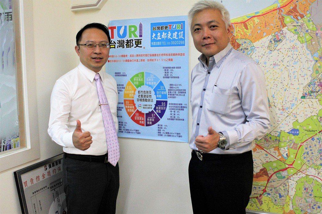 台灣都更桃園加盟店-大立都更建設公司總經理張志光(左)與執行副總游家杰,一同在大...