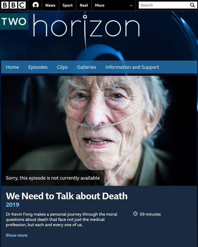 "BBC Horizon 2019"" We Need to Talk about Death 翻攝自BBC網站"