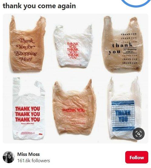 往昔各式各樣的THANK YOU塑膠袋具有時代感。圖/取自pinterest