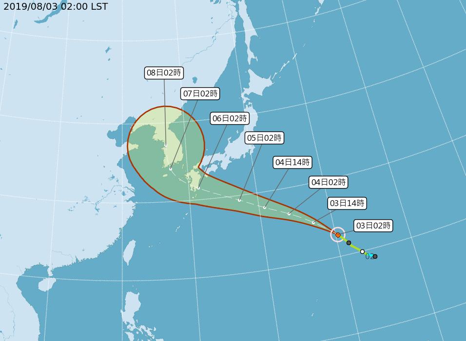 第8號颱風范斯高未來往西北方向朝日本九州方向移動,暫時對台灣無影響。圖/中央氣象...