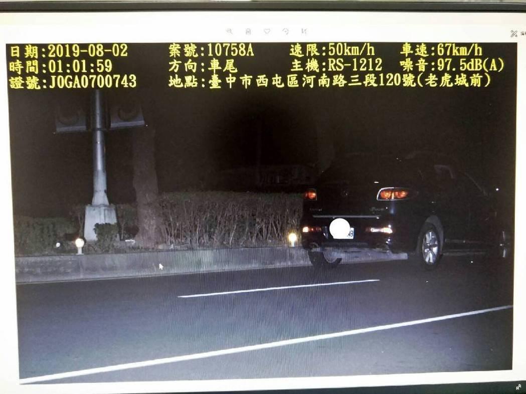 台中市警局添購6台結合測速與噪音的偵測設備,一台要價近80萬元,本月1日已開始取...