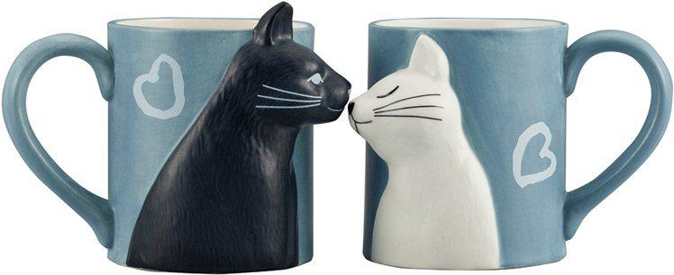台隆手創館獨家推出的貓咪對吻杯,售價740元。圖/台隆手創館提供