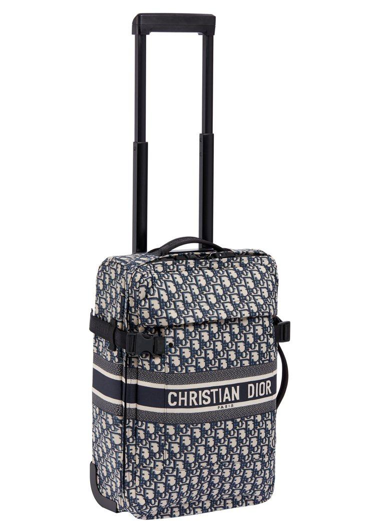 香榭麗舍精品店客製化TravelDior Oblique藍色科技布料小型旅行箱,...