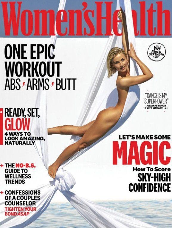 茱莉安浩夫的全裸封面,呈現獨特美感又無露點之虞。圖/摘自Womens Healt...