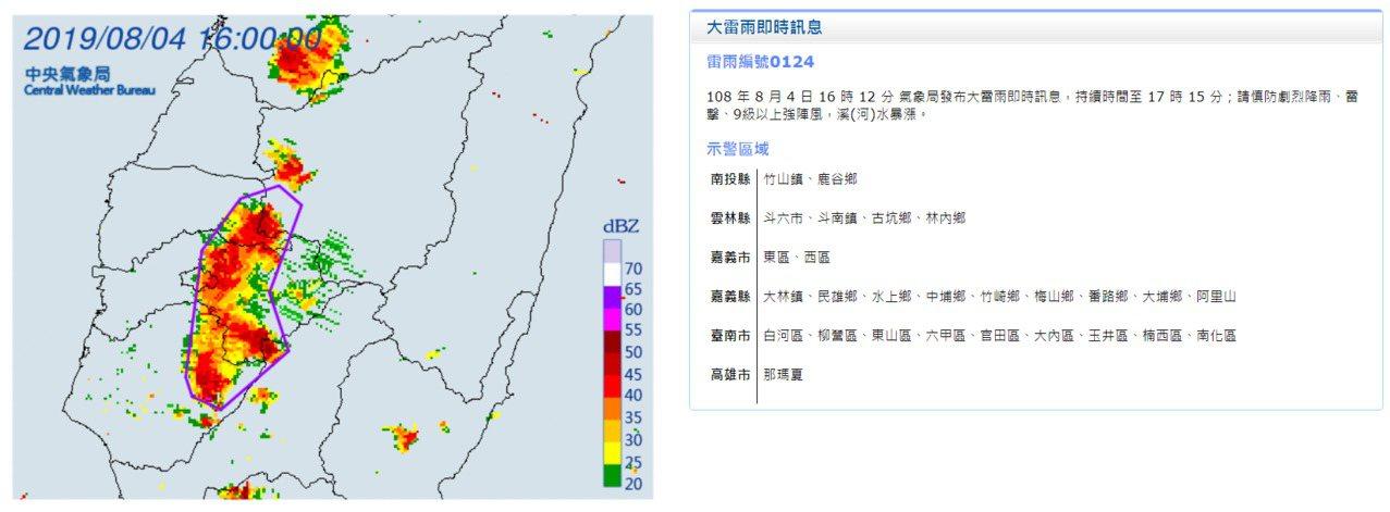 中央氣象局發布大雷雨即時訊息。圖/取自中央氣象局網站