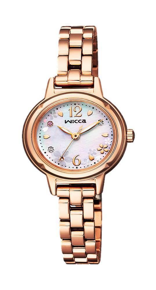 星辰表wicca系列KP3-619-95表款,粉紅金PVD不鏽鋼表殼、表鍊,珍珠...