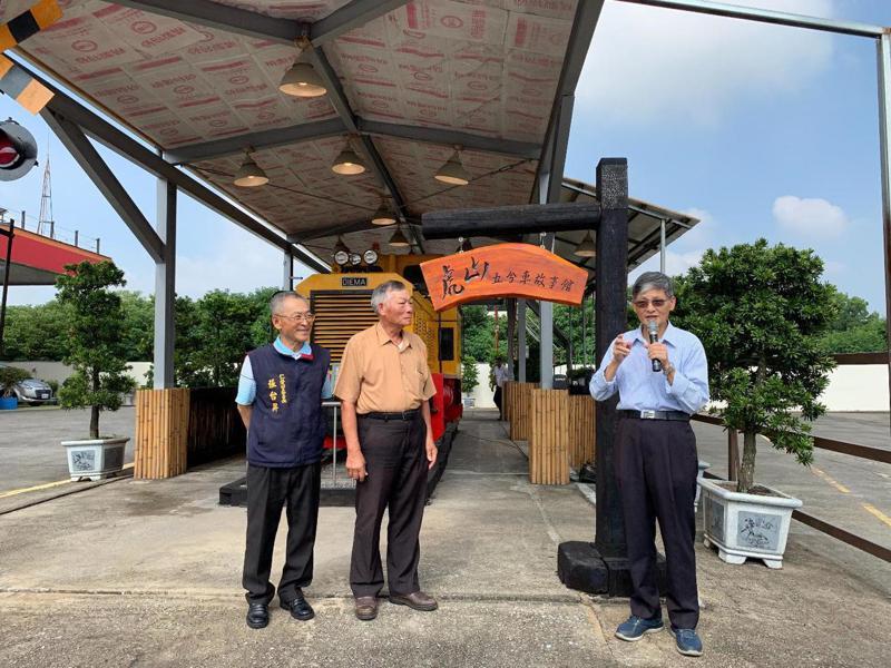 台糖台南仁德虎山加油站內新設五分車故事館,展示「德馬B」內燃機車頭。圖/台糖提供