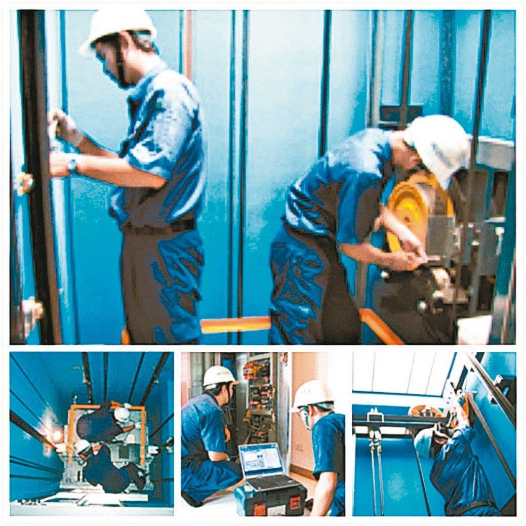 盛大電梯電梯更新工程現場情形。 盛大/提供