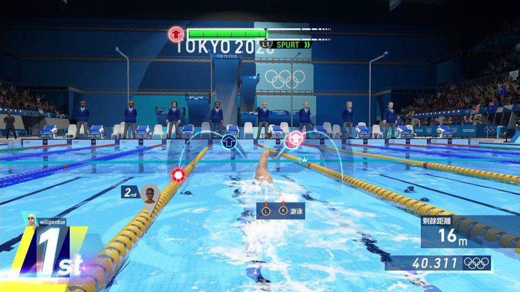 游泳比賽的玩法有點類似像音樂節奏遊戲。