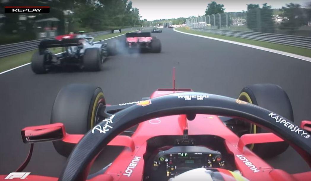 Leclerc在超車時意外的傷到Bottas的前鼻翼。 摘自F1