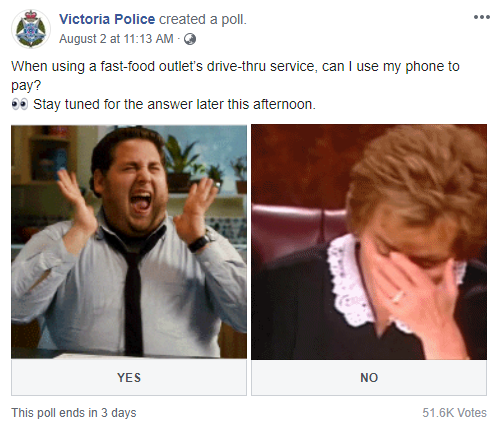 在澳洲得來速使用手機結帳恐面臨罰款。圖取自臉書(@VictoriaPolice)