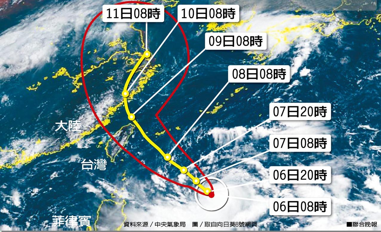 利奇馬颱風預測動向。資料來源/中央氣象局 圖/取自向日葵8號網頁