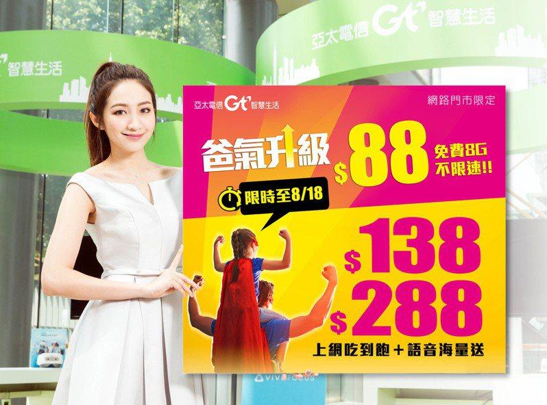 亞太電信期間限定推出網路門市88方案,即享免費8GB,還有網內語音免費,網外、市話贈送20分鐘。圖/亞太電信提供