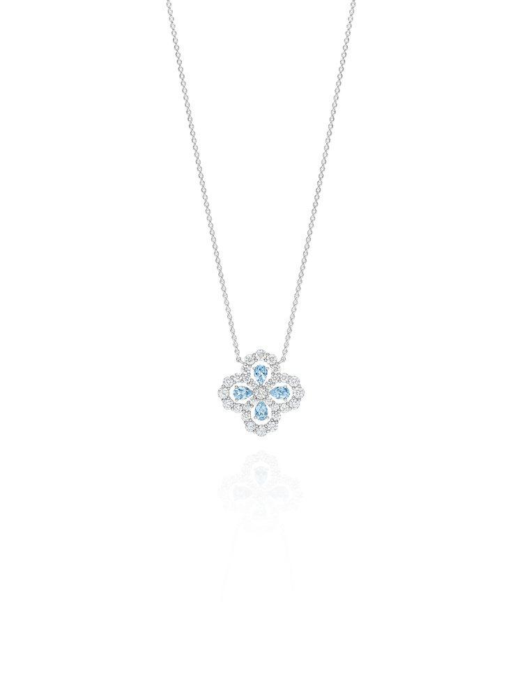 海瑞溫斯頓Diamond Loop珠寶系列實心花型海藍寶石鑽石鍊墜,4顆總重0....