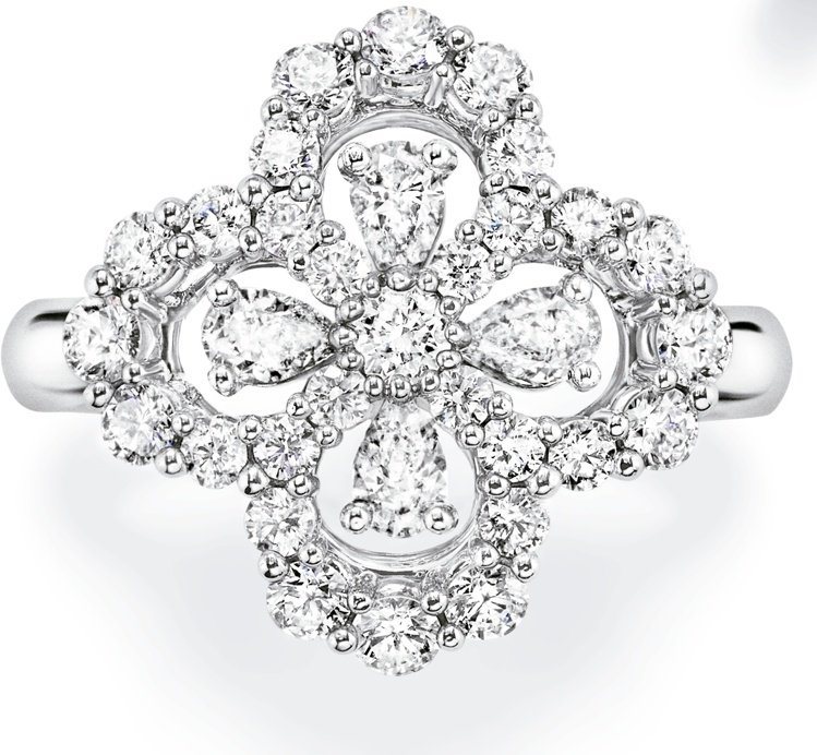 海瑞溫斯頓Loop鑽石戒指,33顆圓形明亮式切工鑽石與水滴形切工鑽石,約33萬7...