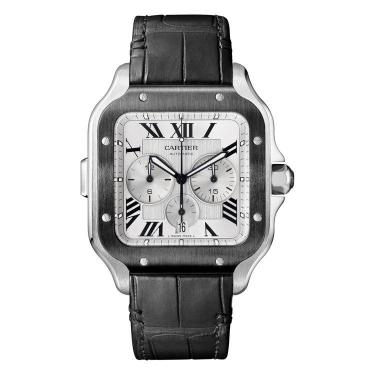 Santos de Cartier自動計時碼表超大型款搭配黑色Gomma鱷魚皮表...