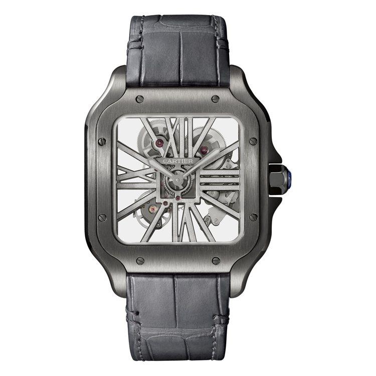 Santos de Cartier鏤空自動腕表大型款搭配深灰色半啞光鱷魚皮表帶,...