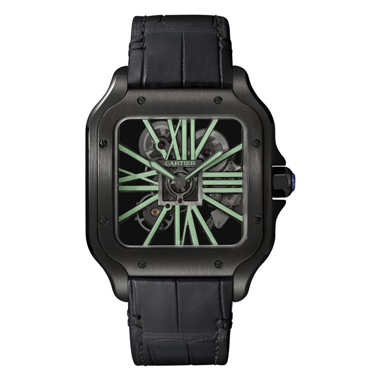 Santos de Cartier鏤空自動腕表大型款搭配黑色鱷魚皮表帶,82萬5...