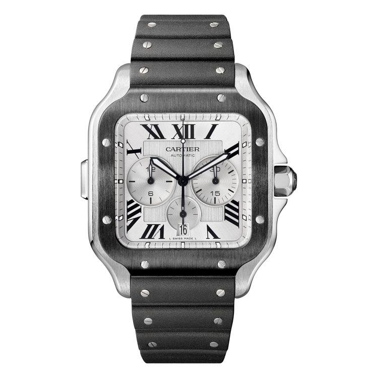 Santos de Cartier自動計時碼表超大型款搭配橡膠表帶,27萬6,0...