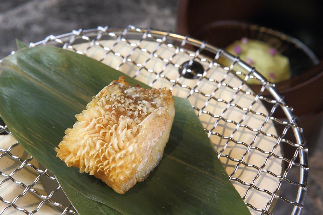 以立鱗燒方式調理的馬頭魚,鱗片酥脆。記者陳睿中/攝影