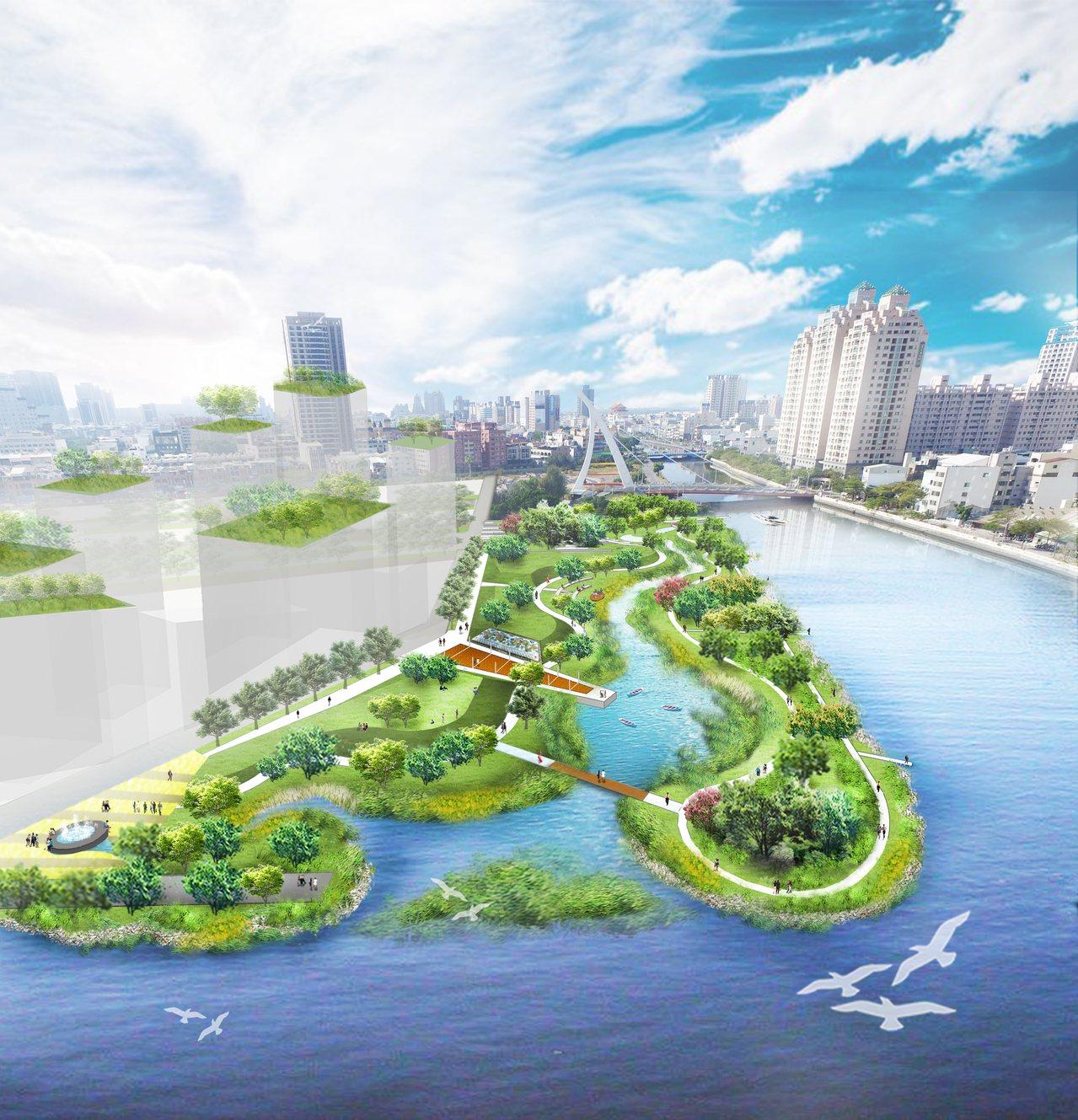 台南市配合運河星鑽區,將開發「公97」生態水岸公園。圖/台南市工務局提供