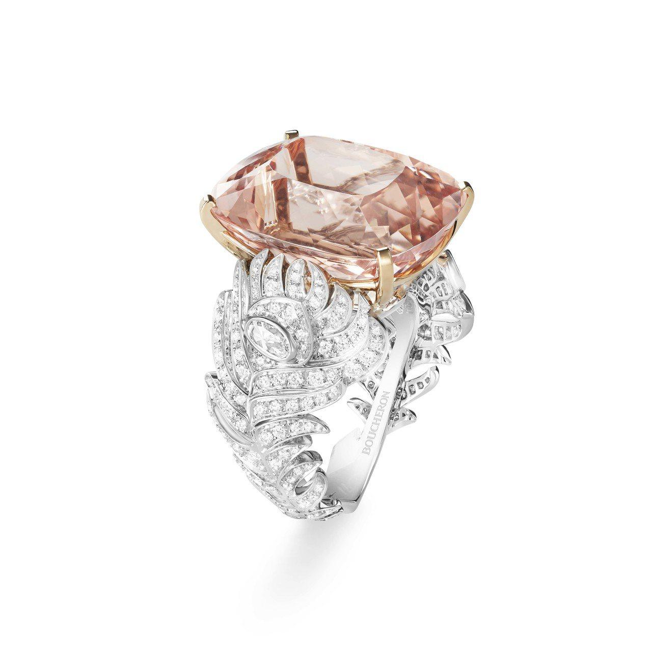 Plume de Paon系列摩根石指環,261萬元。圖/寶詩龍提供0000