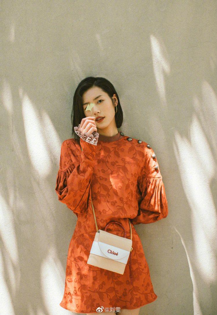 劉雯巧妙以咖啡紅色的裙裝配襯Chloé Aby Lock特別款迷你鎖頭包,搶眼卻...
