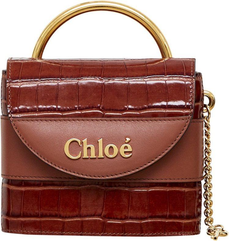 Chloé Aby Lock 紅棕色鱷魚皮壓紋迷你鎖頭包,售價53,200元。圖...