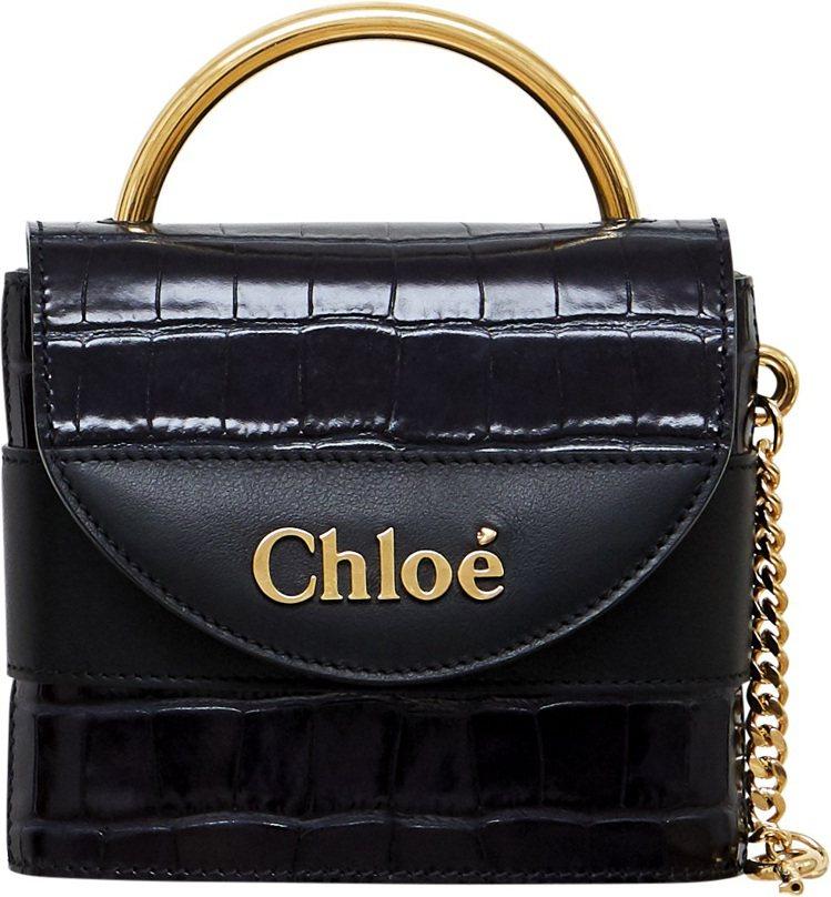 Chloé Aby Lock藍黑色鱷魚皮壓紋迷你鎖頭包,售價53,200元。圖/...