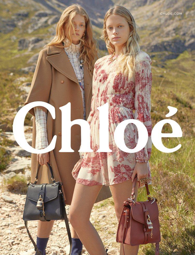Chloé發表在蘇格蘭高地拍攝的2019秋冬系列形象廣告。圖/Chloé提供
