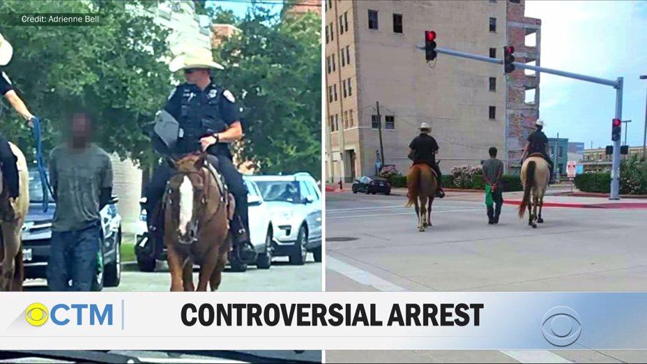 美國德州加爾維斯頓日前有人拍到兩名白人警察騎著馬,用繩索牽著一名非裔男姓嫌犯在路上行走,引發輿論強烈撻伐。當地警局局長出面道歉止血,稱使用繩索押解嫌犯在部分場合是合法的,2名當事警官執法當時沒有惡意,但顯然缺乏判斷力,並取消此一押解方法。畫面翻攝:YouTube/CBS This Morning