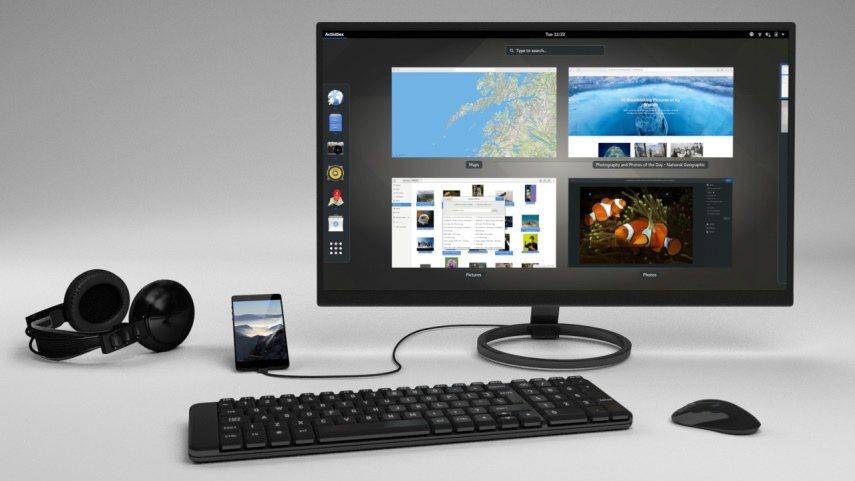 ▲ 使用者也能透過外接鍵盤、滑鼠、螢幕的方式,將Librem 5當作Linux電...