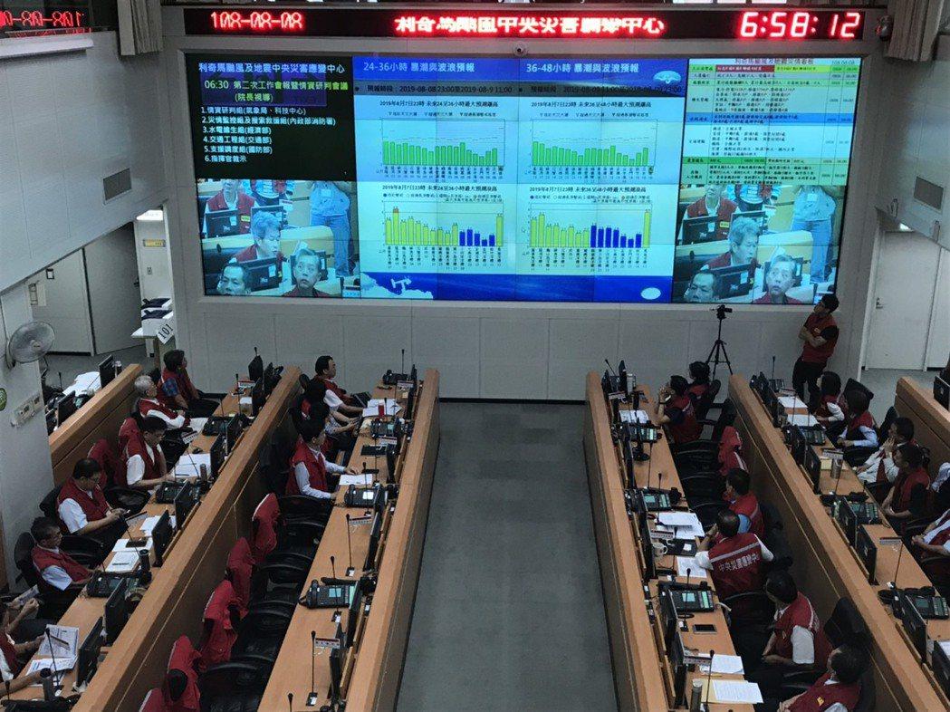 中央災害應變中心今日上午6時30分召開工作會報。記者柯毓庭/攝影