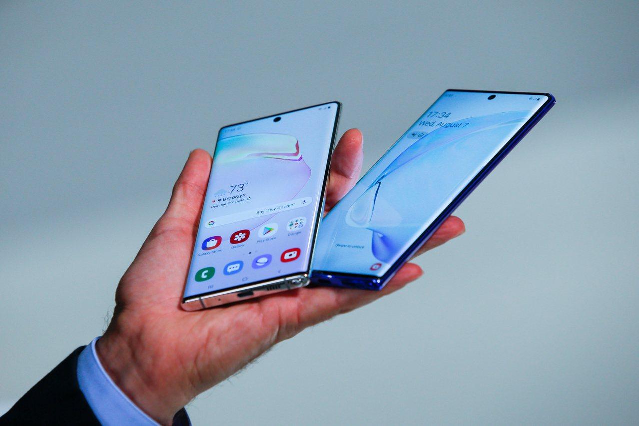 三星7日在美國發表年度旗艦新機Galaxy Note 10系列手機。路透