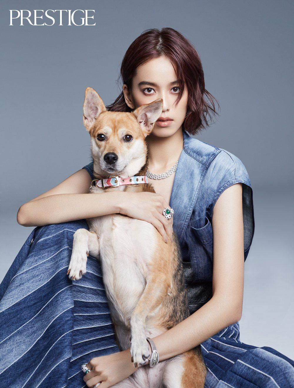 卡地亞珠寶形象大使陳庭妮與愛犬Chelsea配戴卡地亞珠寶、穿Dior登上雜誌封...