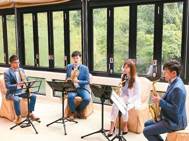 MIT米特薩克斯風多重奏-薩日午後風之饗宴是多場山林音樂會中的一場。 圖/陳志光...