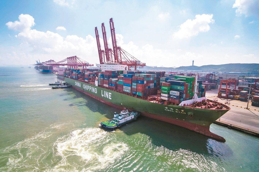 大陸7月出口金額年增3.3%優於外界預期。圖為大陸青島港的貨櫃輪正在裝卸貨櫃。 ...