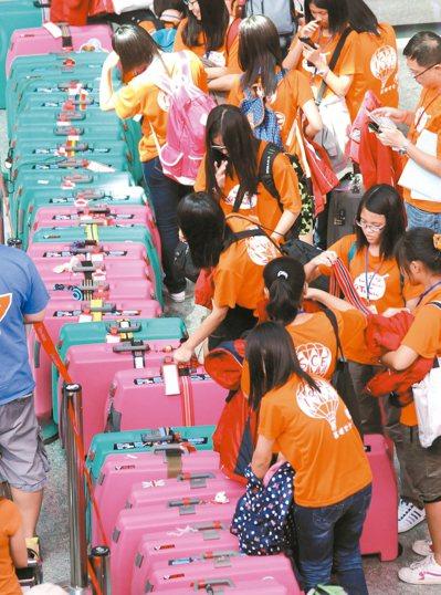 暑假期間在桃園機場出境大廳到處常可見到準備出國遊學、旅遊的學生團體。 圖/聯合報...