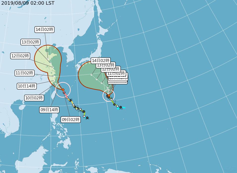 強烈颱風利奇馬路徑潛勢圖。圖/取自氣象局網站