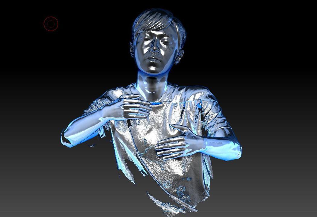 製作團隊掃瞄青峰3D立體模型,製造青峰人型冰雕。圖/環球音樂提供