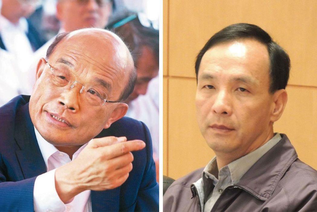 蘇貞昌(左)與朱立倫。圖/聯合報系資料照片