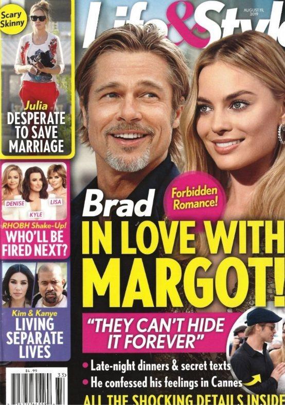 布萊德彼特與瑪格羅比被八卦雜誌封面指有禁忌之戀。圖/摘自Life & Style