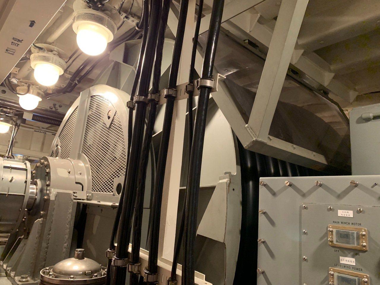 銘傳軍艦上的拖曳式聲納放列室,將捲在大型鋼圈上的電纜型聲納陣列自艦尾緩慢放列入水...
