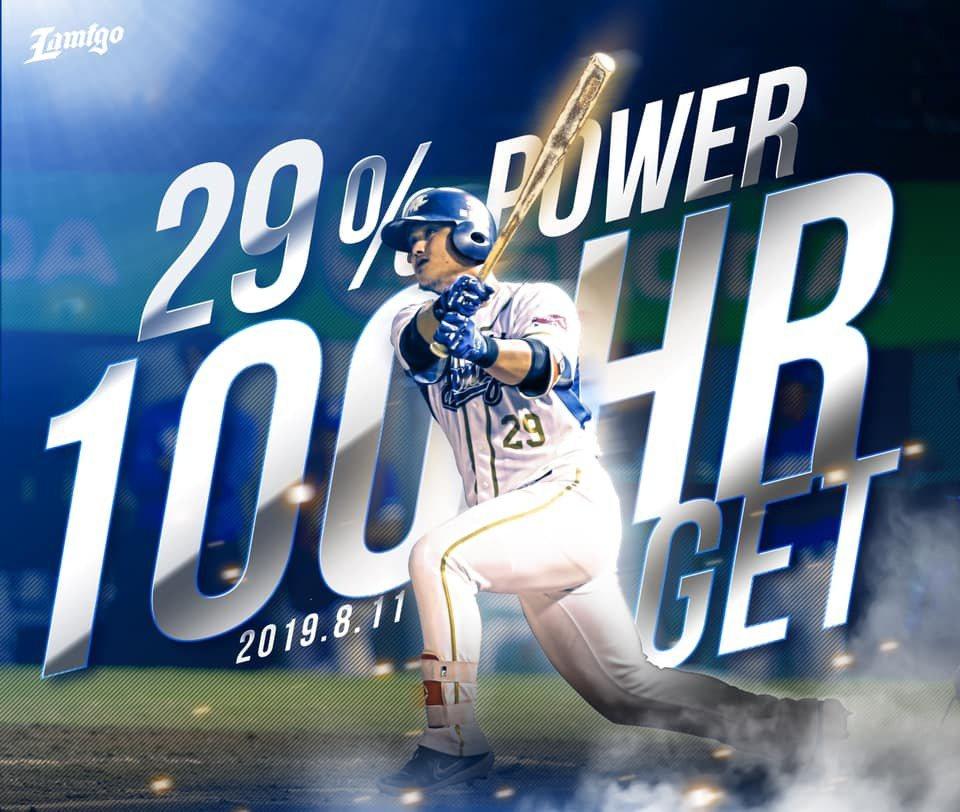 陳俊秀在家鄉完成生涯百轟里程碑,成為中職史上第20人。 截圖自猿隊官方粉絲團