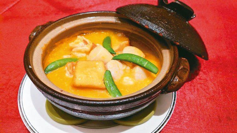 南瓜海鮮豆腐煲。 攝影/董俞佳