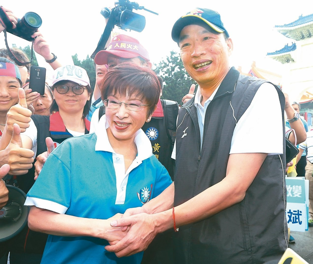 國民黨前主席洪秀柱與高雄市長韓國瑜。本報資料照片 圖╱聯合報系資料照片