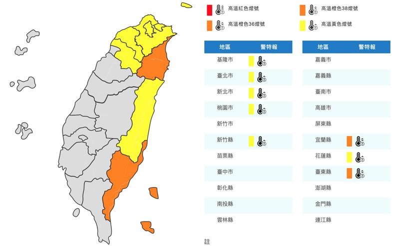 中央氣象局對北部及東半部8縣市發布高溫資訊。圖/取自中央氣象局網站