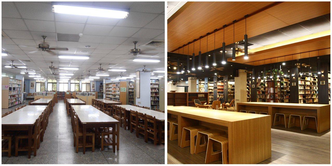 文華高中圖書館「變身前」(左)制式冰冷,重新拉皮後煥然一新(右)。圖/文華高中提...
