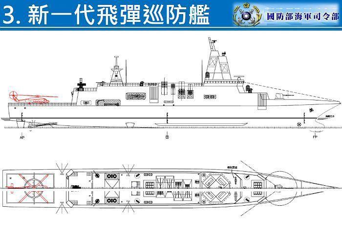 海軍在馬政府時代,公布「建軍願景」中的新一代飛彈巡防艦,可看到塔型主桅上有四片相...